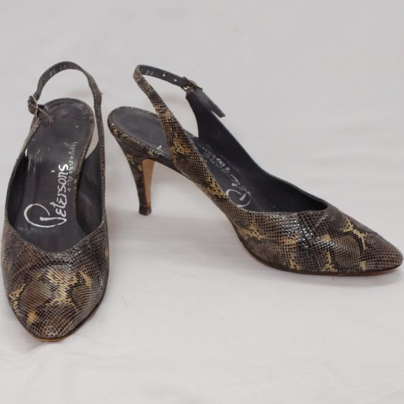 *3 For $25* Vintage 1960s Leather Slingback Pumps